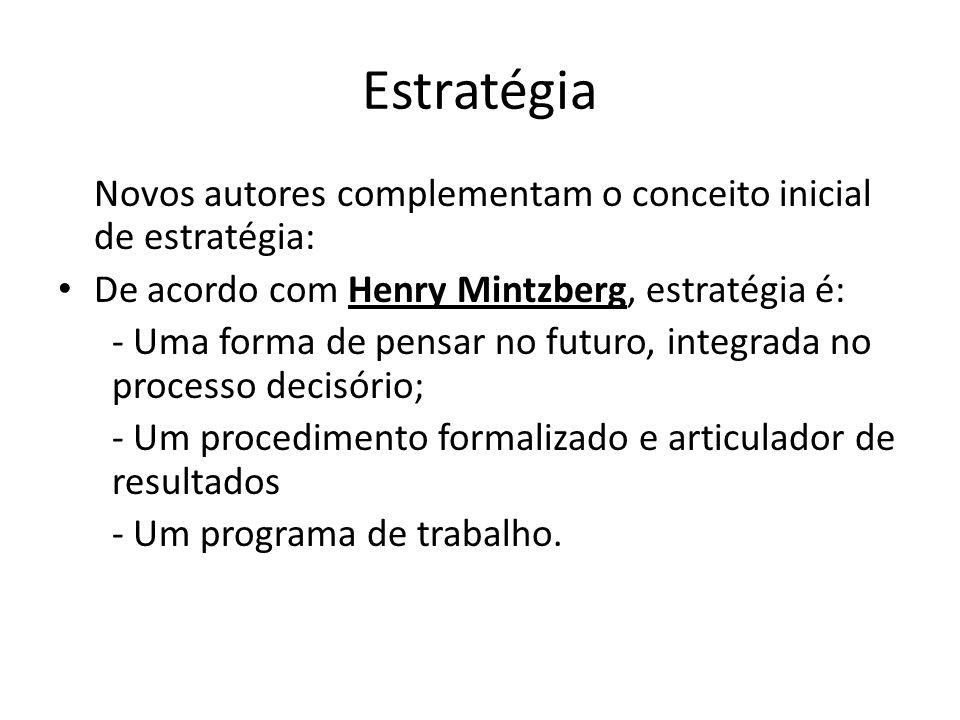 Estratégia Novos autores complementam o conceito inicial de estratégia: De acordo com Henry Mintzberg, estratégia é: