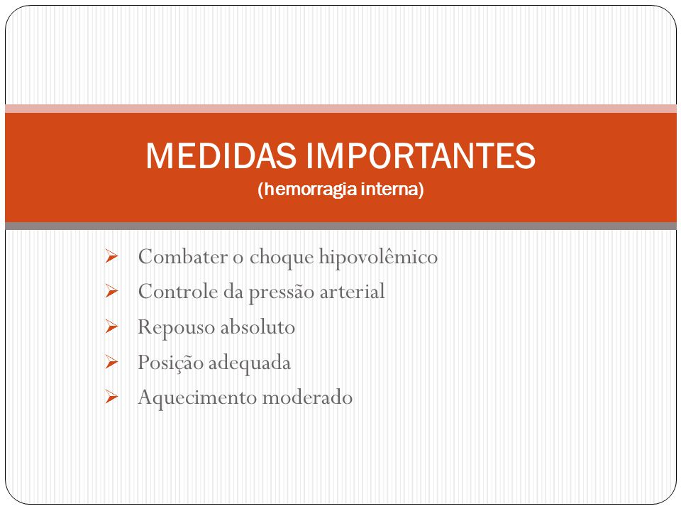 MEDIDAS IMPORTANTES (hemorragia interna)