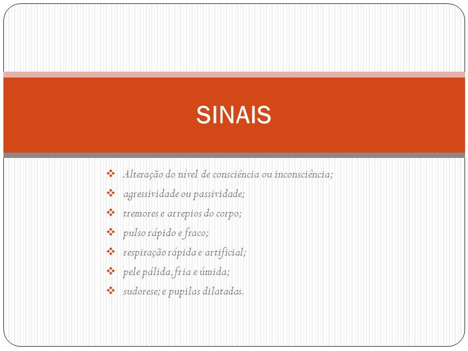 SINAIS Alteração do nível de consciência ou inconsciência;