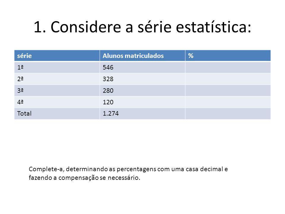 1. Considere a série estatística: