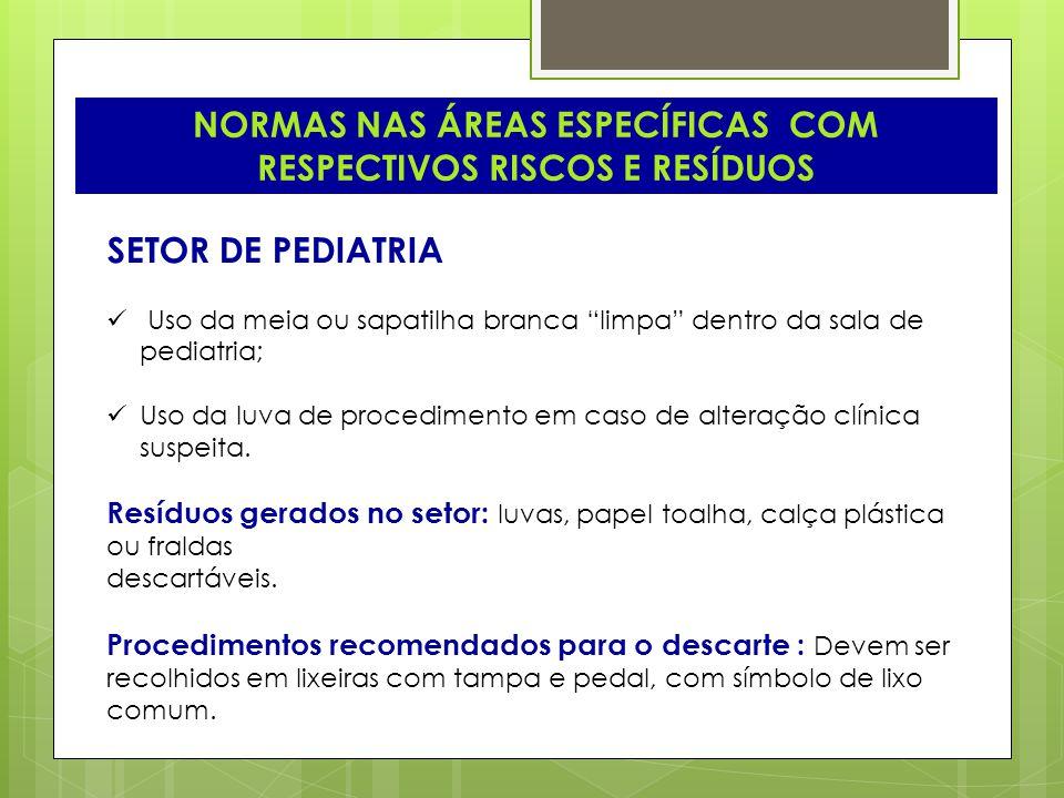 NORMAS NAS ÁREAS ESPECÍFICAS COM RESPECTIVOS RISCOS E RESÍDUOS