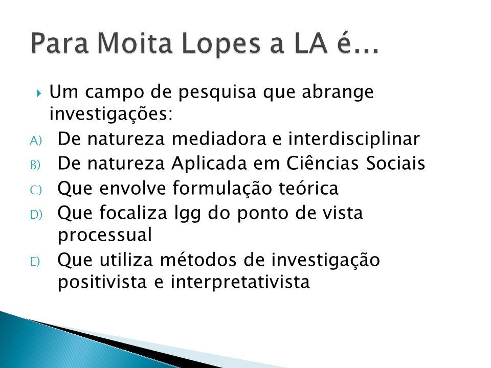 Para Moita Lopes a LA é... Um campo de pesquisa que abrange investigações: De natureza mediadora e interdisciplinar.