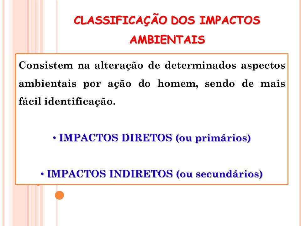 CLASSIFICAÇÃO DOS IMPACTOS AMBIENTAIS