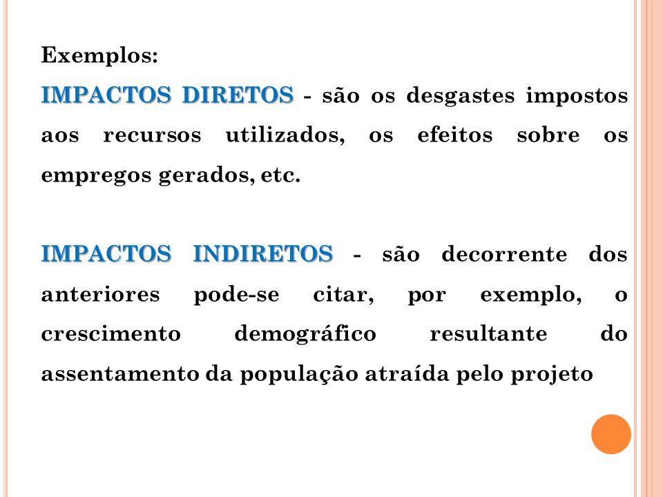 Exemplos: IMPACTOS DIRETOS - são os desgastes impostos aos recursos utilizados, os efeitos sobre os empregos gerados, etc.