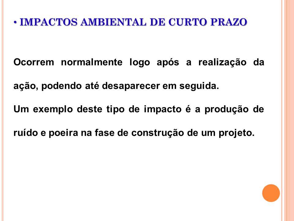 IMPACTOS AMBIENTAL DE CURTO PRAZO