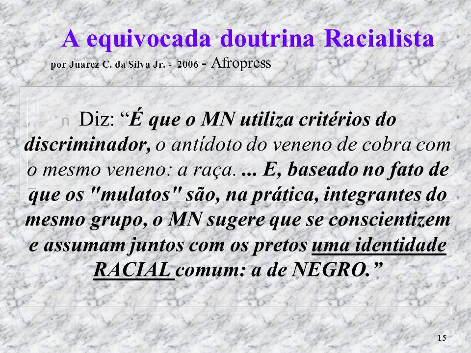 A equivocada doutrina Racialista por Juarez C. da Silva Jr
