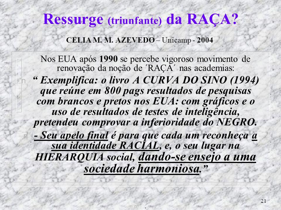 Ressurge (triunfante) da RAÇA CELIA M. M. AZEVEDO – Unicamp - 2004