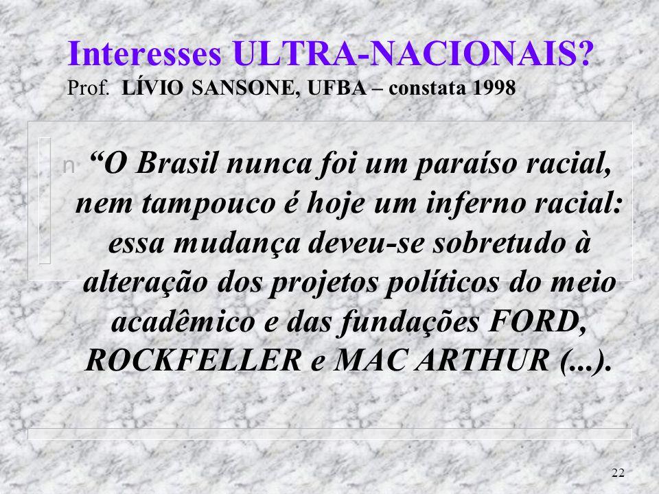 Interesses ULTRA-NACIONAIS Prof. LÍVIO SANSONE, UFBA – constata 1998