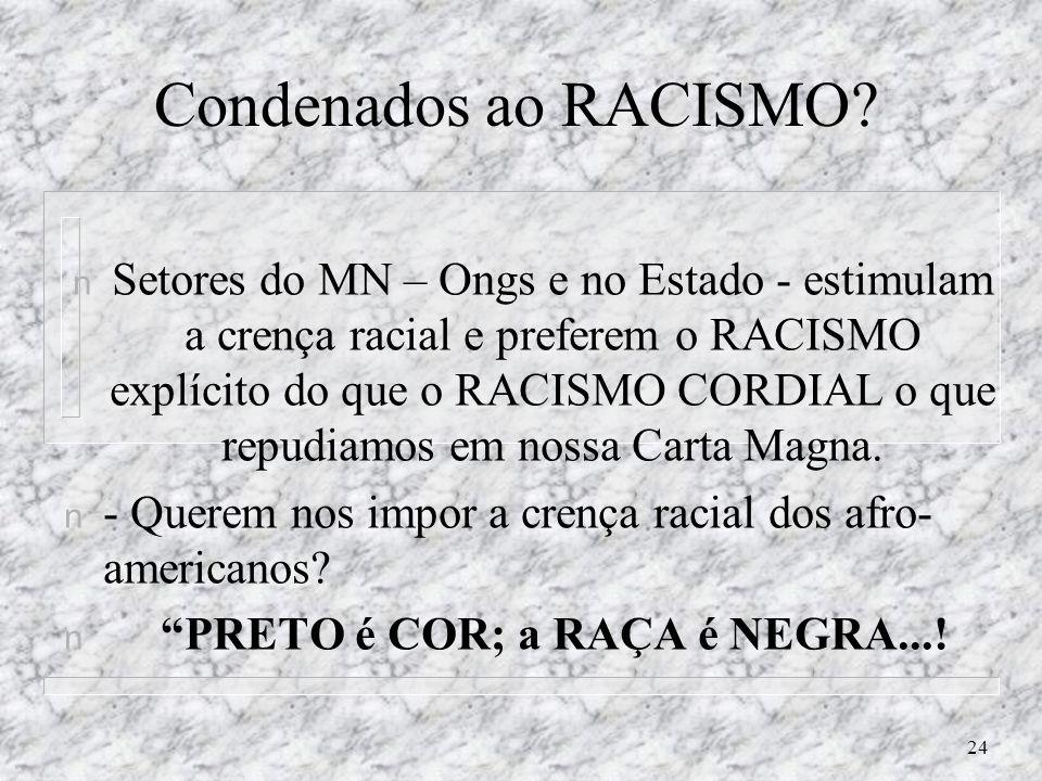 Condenados ao RACISMO