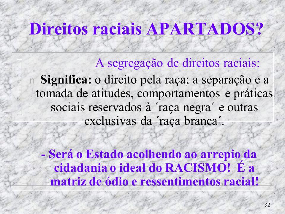 Direitos raciais APARTADOS