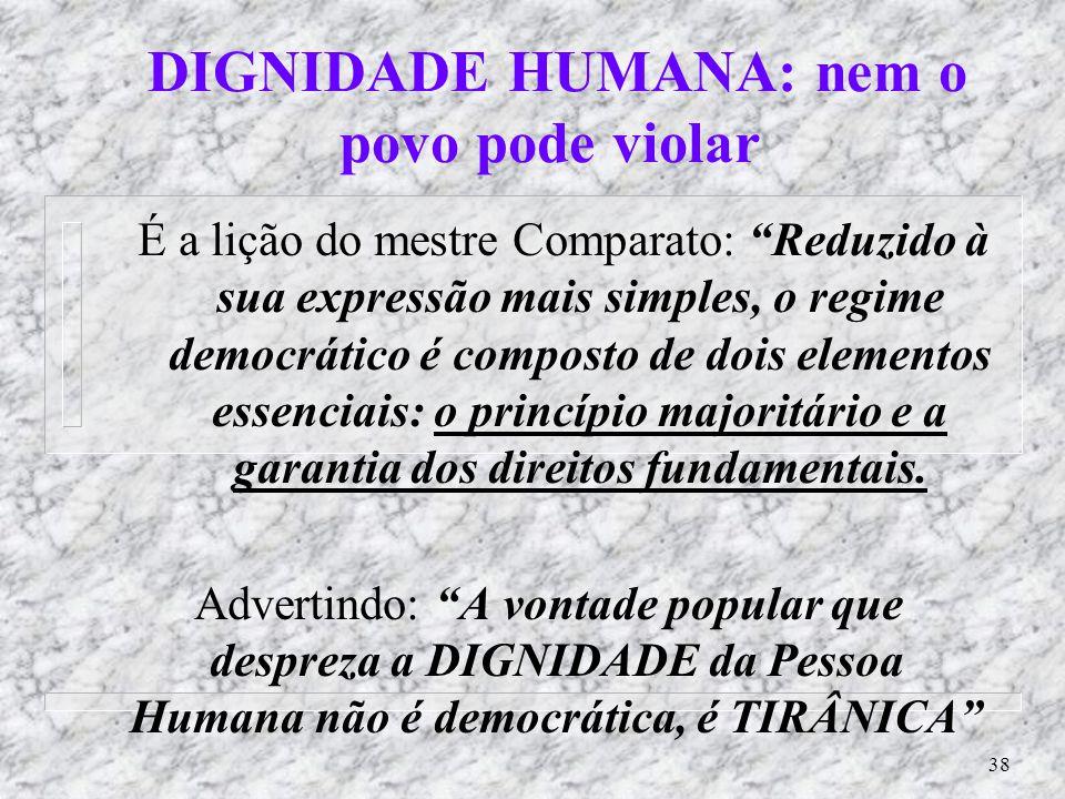 DIGNIDADE HUMANA: nem o povo pode violar