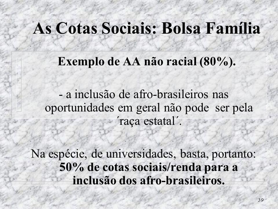As Cotas Sociais: Bolsa Família