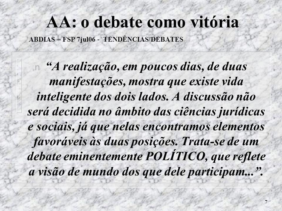 AA: o debate como vitória ABDIAS – FSP 7jul06 - TENDÊNCIAS/DEBATES