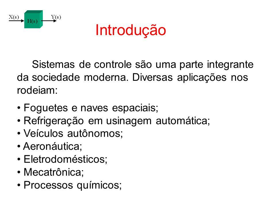Introdução Sistemas de controle são uma parte integrante da sociedade moderna. Diversas aplicações nos rodeiam: