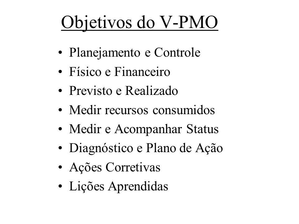 Objetivos do V-PMO Planejamento e Controle Físico e Financeiro