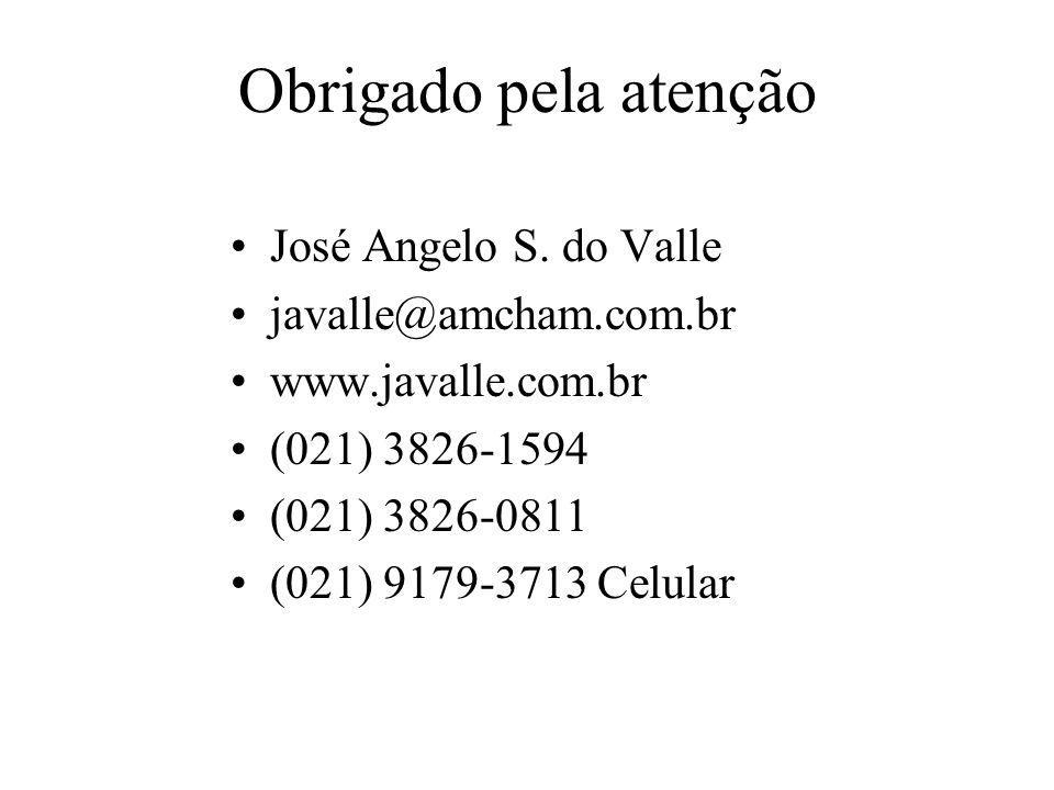 Obrigado pela atenção José Angelo S. do Valle javalle@amcham.com.br
