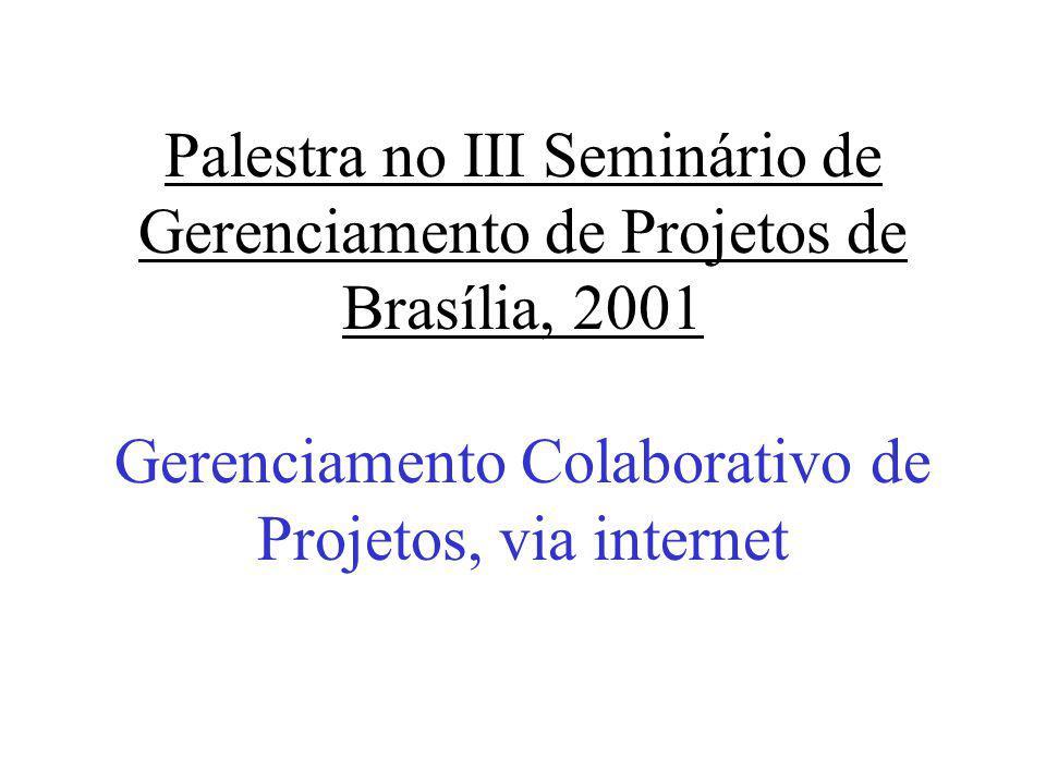 Palestra no III Seminário de Gerenciamento de Projetos de Brasília, 2001 Gerenciamento Colaborativo de Projetos, via internet