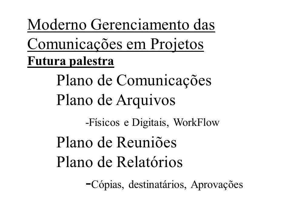 Moderno Gerenciamento das Comunicações em Projetos Futura palestra