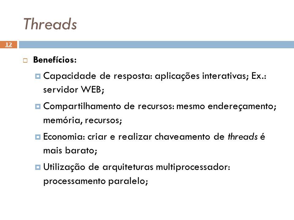 Threads Benefícios: Capacidade de resposta: aplicações interativas; Ex.: servidor WEB;