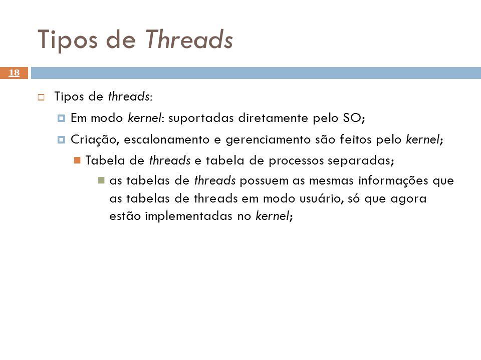 Tipos de Threads Tipos de threads: