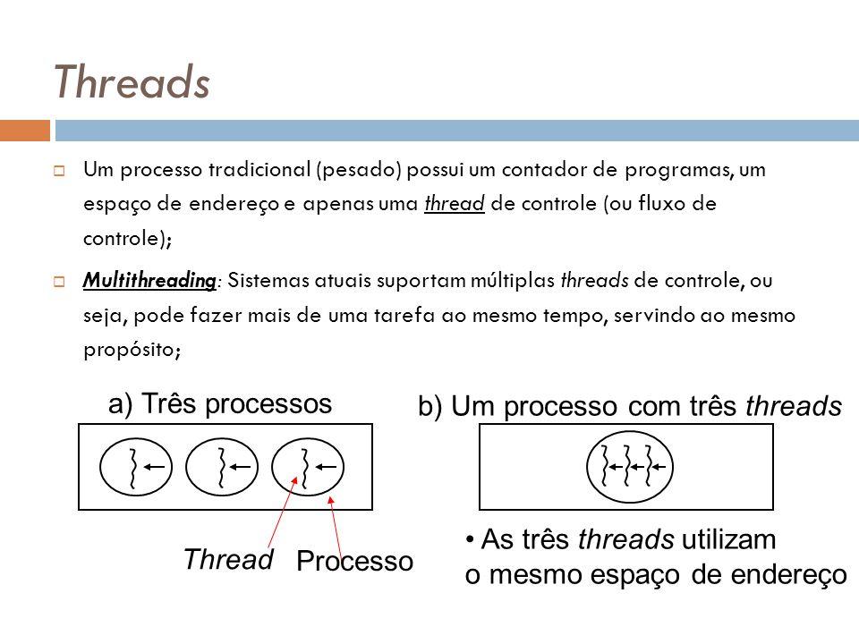 b) Um processo com três threads