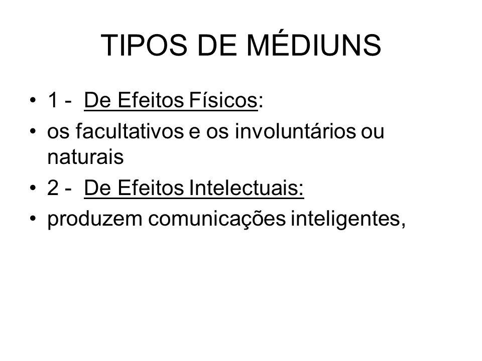 TIPOS DE MÉDIUNS 1 - De Efeitos Físicos: