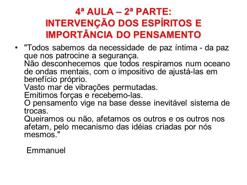 4ª AULA – 2ª PARTE: INTERVENÇÃO DOS ESPÍRITOS E IMPORTÂNCIA DO PENSAMENTO