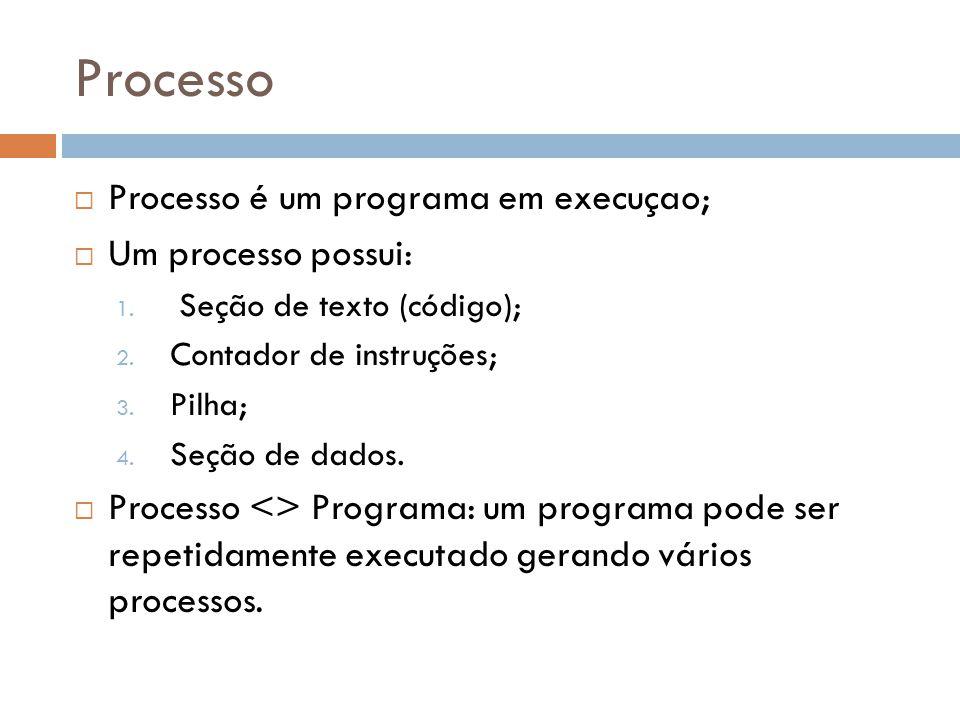 Processo Processo é um programa em execuçao; Um processo possui: