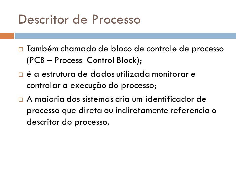 Descritor de Processo Também chamado de bloco de controle de processo (PCB – Process Control Block);