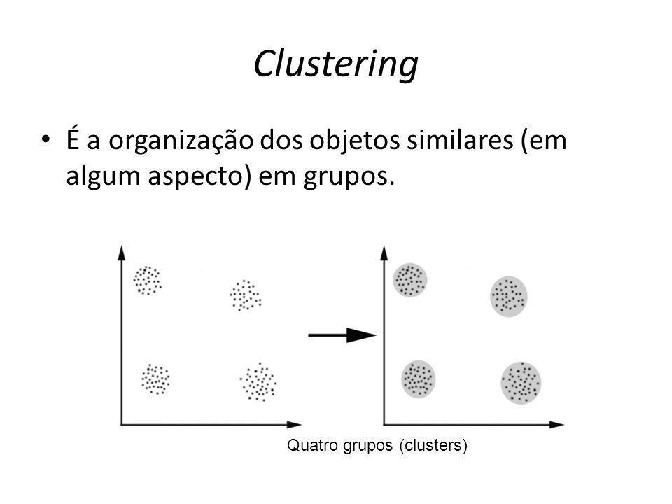 Clustering É a organização dos objetos similares (em algum aspecto) em grupos.