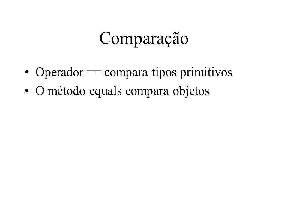 Comparação Operador == compara tipos primitivos