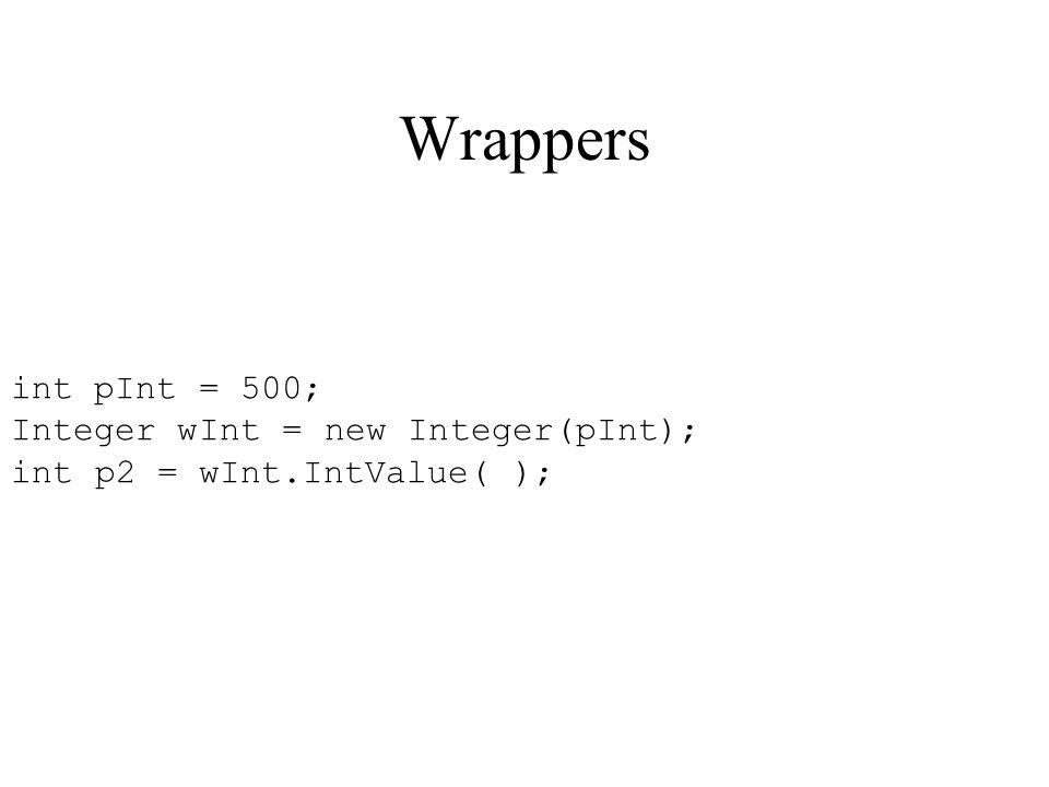 Wrappers int pInt = 500; Integer wInt = new Integer(pInt);