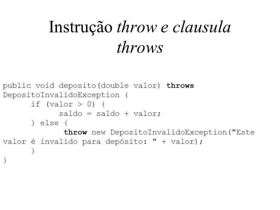 Instrução throw e clausula throws