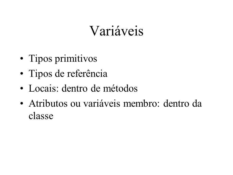 Variáveis Tipos primitivos Tipos de referência