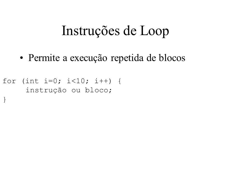 Instruções de Loop Permite a execução repetida de blocos
