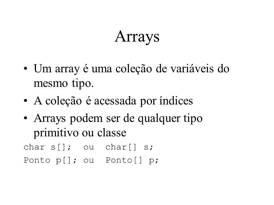 Arrays Um array é uma coleção de variáveis do mesmo tipo.