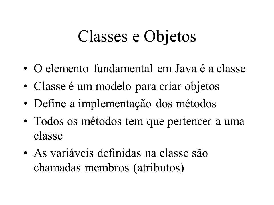 Classes e Objetos O elemento fundamental em Java é a classe