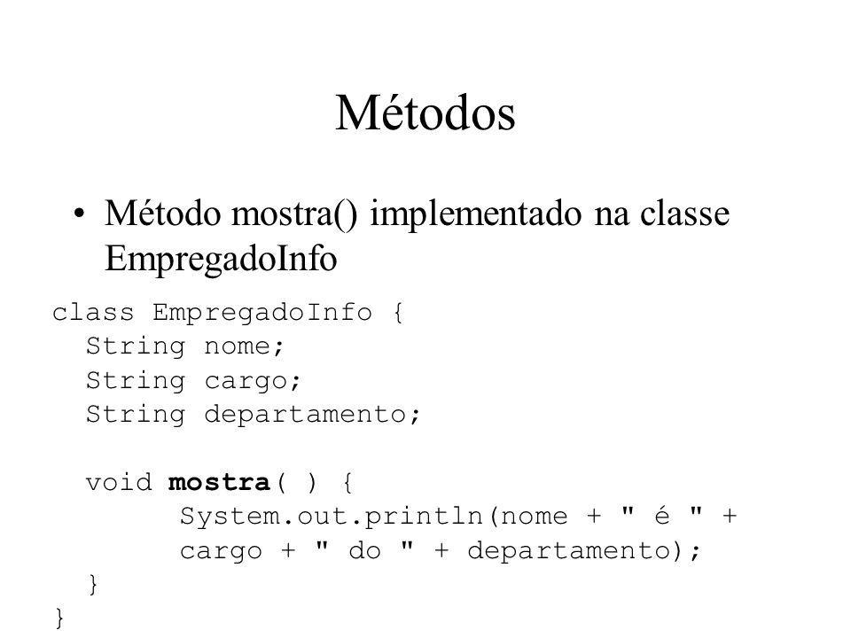 Métodos Método mostra() implementado na classe EmpregadoInfo