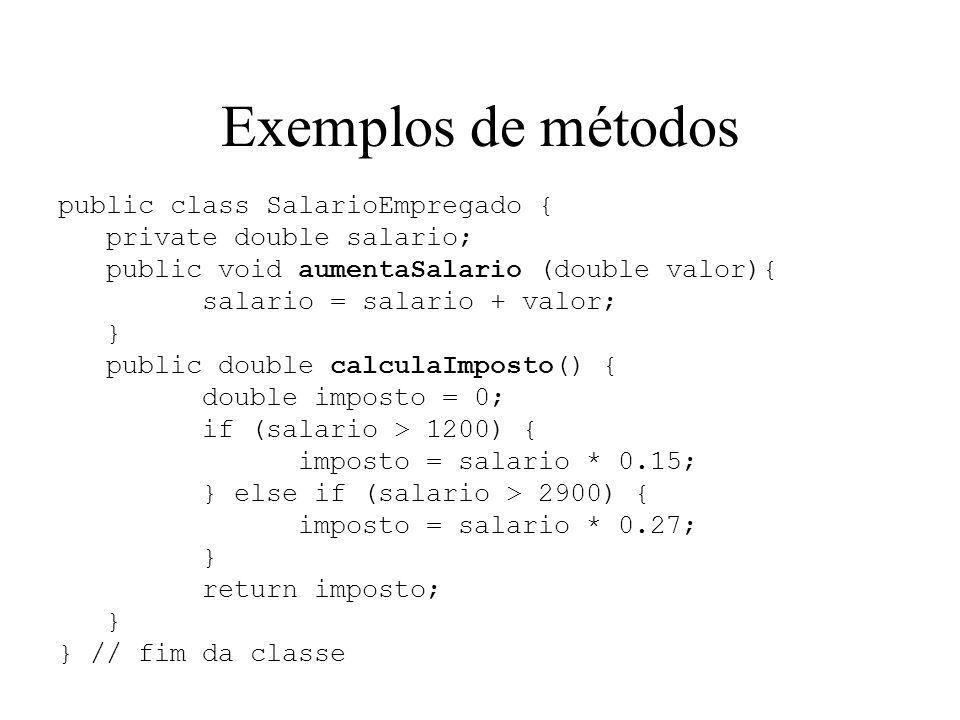 Exemplos de métodos public class SalarioEmpregado {