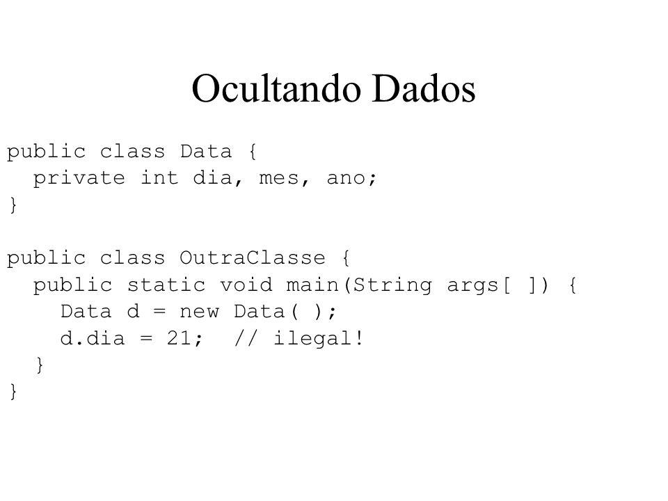 Ocultando Dados public class Data { private int dia, mes, ano; }