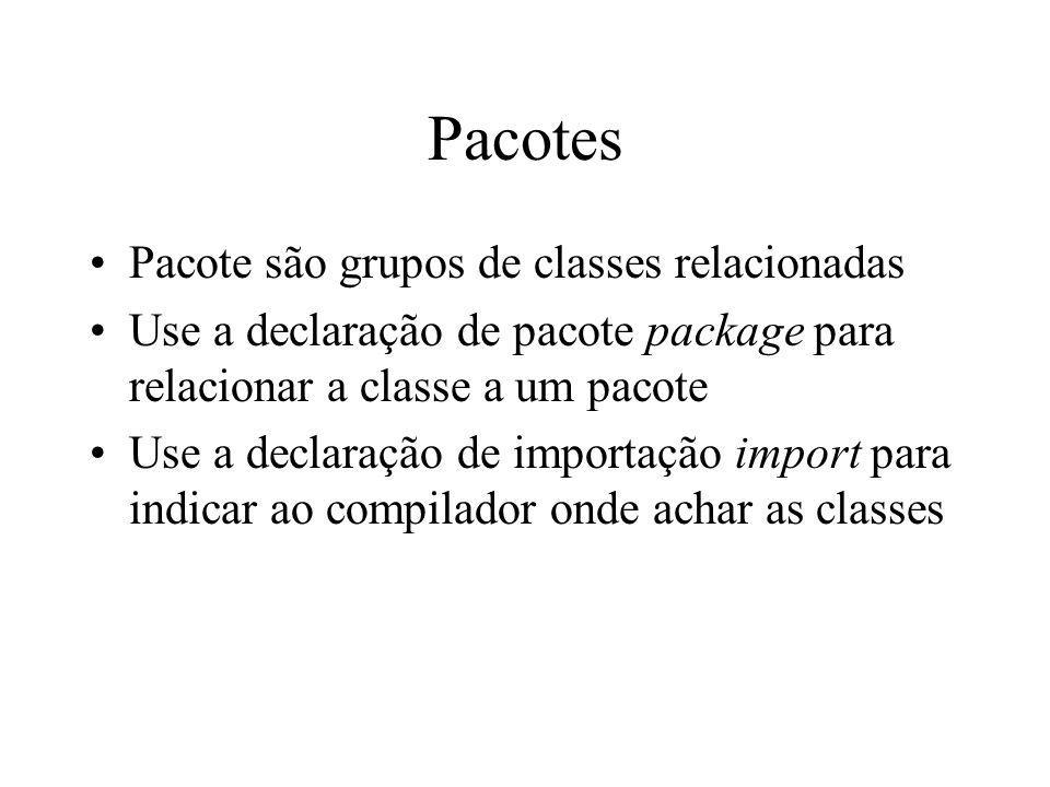 Pacotes Pacote são grupos de classes relacionadas