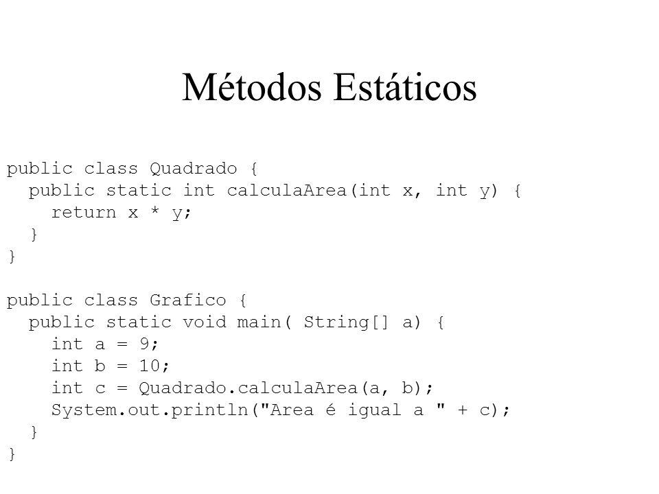 Métodos Estáticos public class Quadrado {
