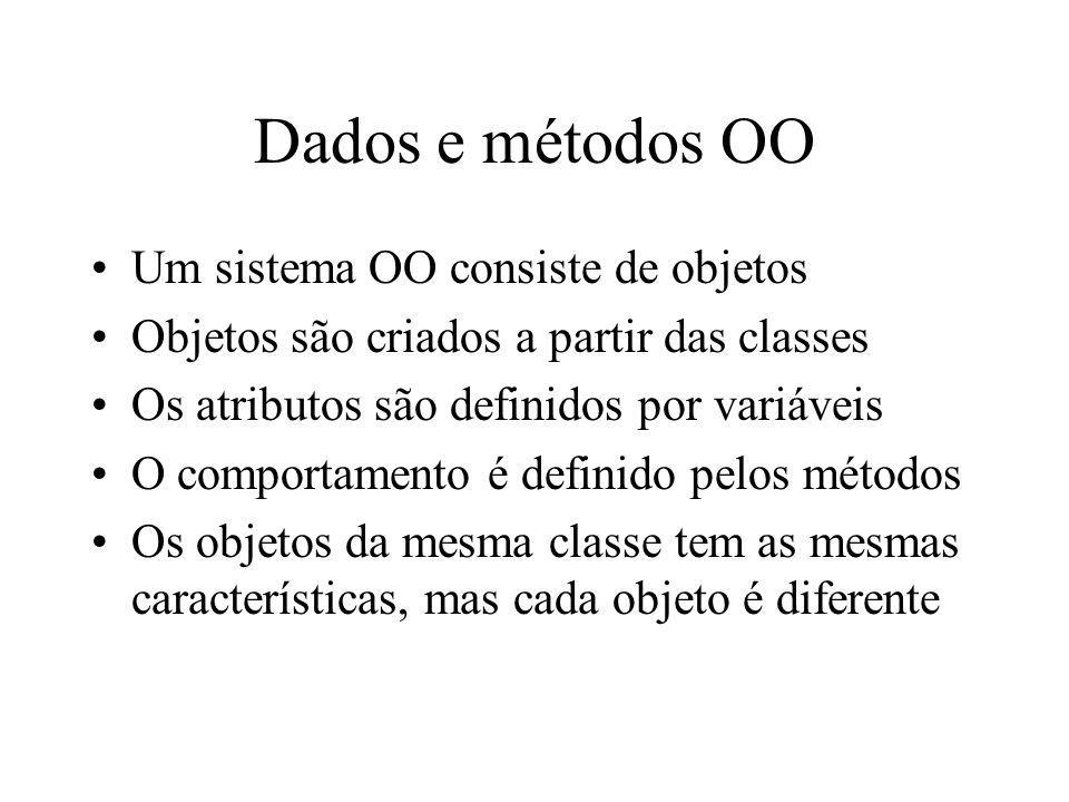 Dados e métodos OO Um sistema OO consiste de objetos