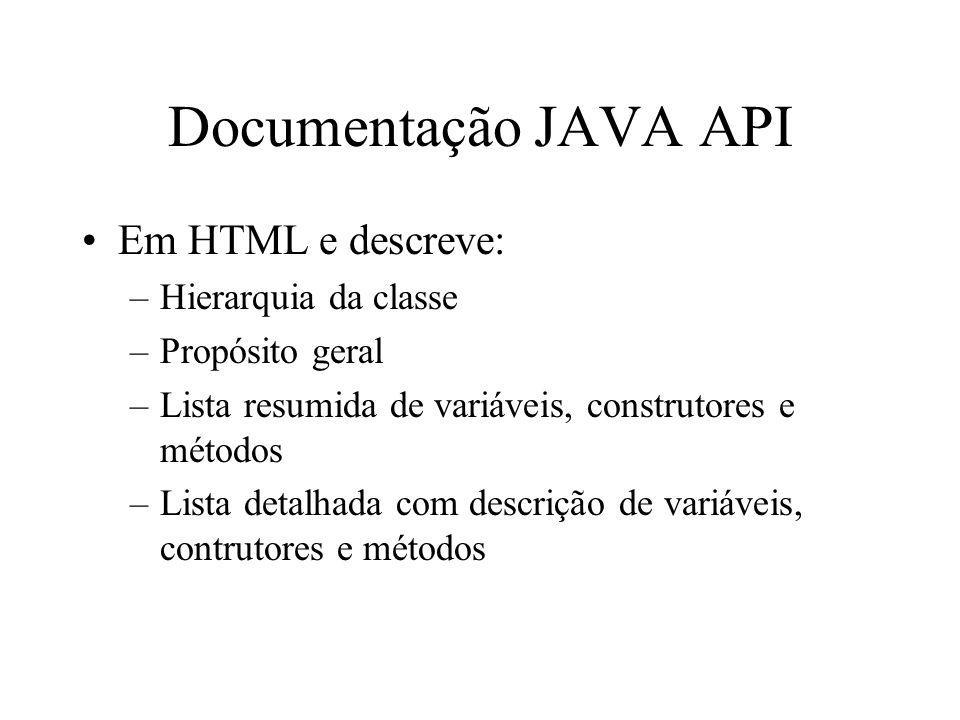 Documentação JAVA API Em HTML e descreve: Hierarquia da classe