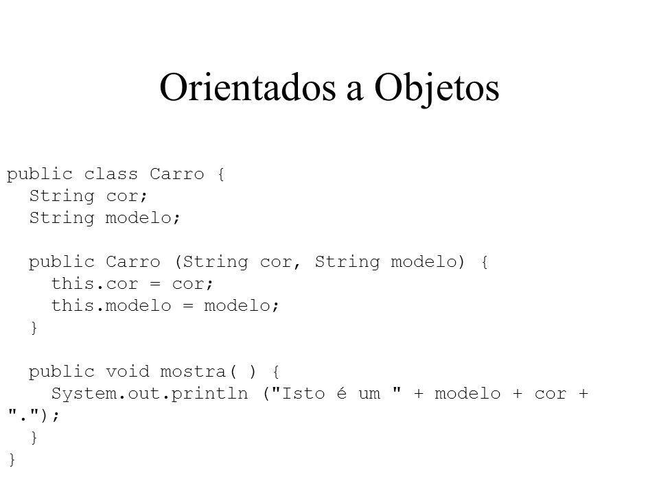 Orientados a Objetos public class Carro { String cor; String modelo;