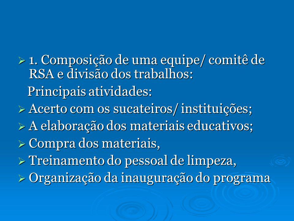 1. Composição de uma equipe/ comitê de RSA e divisão dos trabalhos: