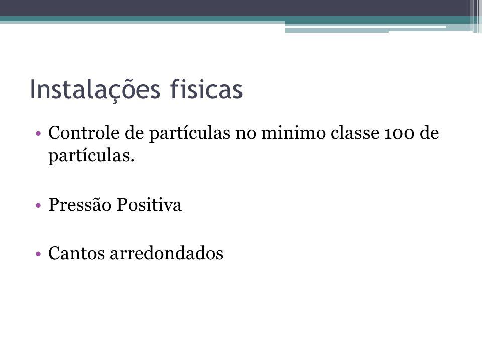 Instalações fisicas Controle de partículas no minimo classe 100 de partículas.