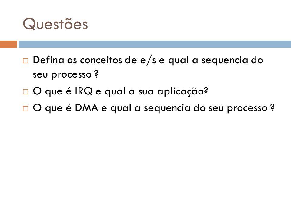 Questões Defina os conceitos de e/s e qual a sequencia do seu processo O que é IRQ e qual a sua aplicação
