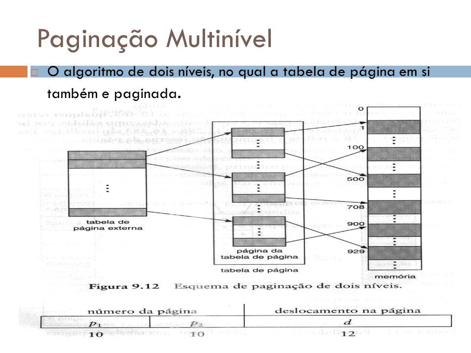 Paginação Multinível O algoritmo de dois níveis, no qual a tabela de página em si também e paginada.
