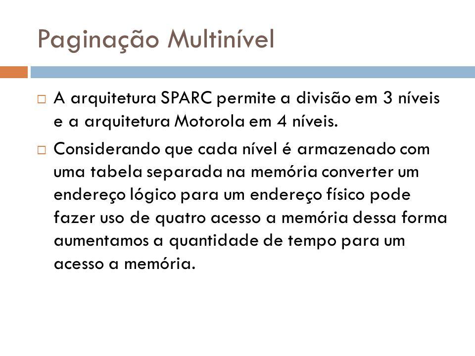 Paginação Multinível A arquitetura SPARC permite a divisão em 3 níveis e a arquitetura Motorola em 4 níveis.